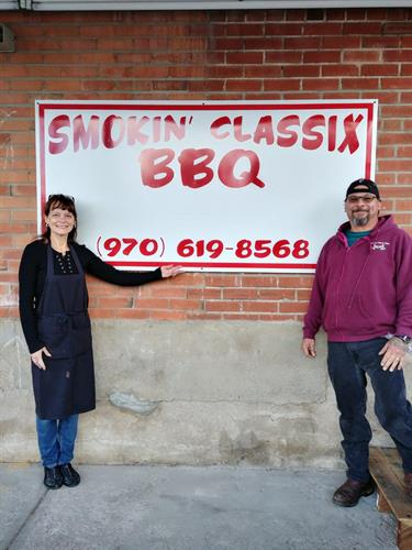 Out front at the restaurant located @ 207 S. Railroad Ave., Suite A, Loveland CO