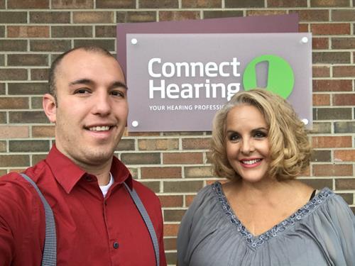 Kyle Doerfler (Hearing Instrument Specialist) & Myra Camarena (Patient Care Coordinator)