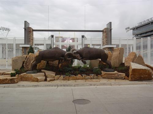 Rocky Mountain Rumble - 21ft L x 7ft H - 2 Different Bighorn Rams locked in battle Edition of 5 (1 Left)  Table sizes available