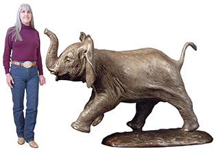 Tamu - Baby Elephant - Edition of 15 - (very first sculpture by Dawn) Large table size available