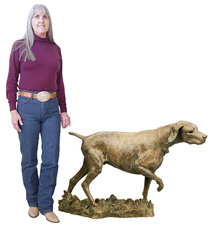 Everfaithful - Life size+ hunting dog on point- Edition of 15 (table size replicas available)