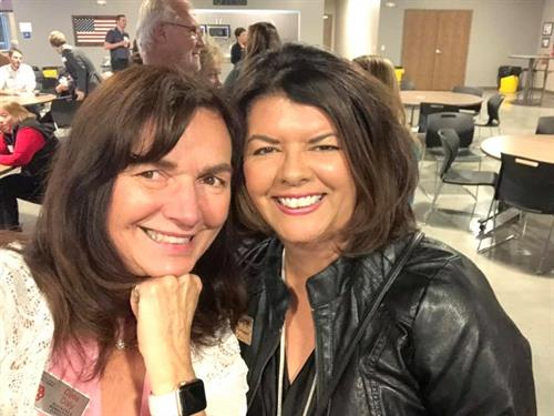 The beautiful, sweet Loveland Chamber Membership Director Dixie Daly and Lori Gama, President, DaGama Digital Marketing, attending an event in 2018.
