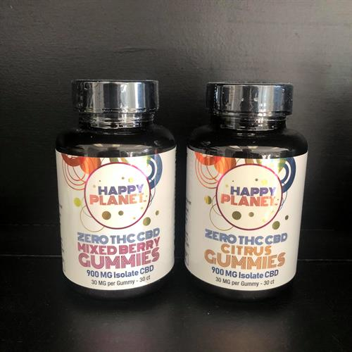 Happy Planet isolate CBD gummies, citrus or mixed berry, 30mg per gummy, 900mg per bottle