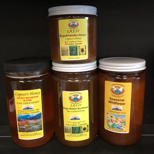 Copoco's Honey, local honey from Fort Collins, wildflower, sage-alfalfa-sunflower, high elevation alpine flower