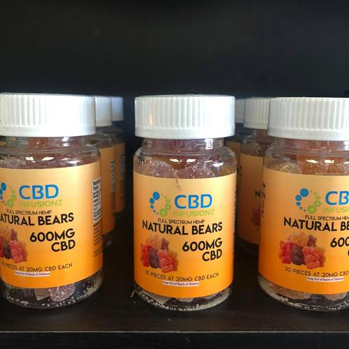 CBD Infusionz full spectrum gummies, 20mg per gummy, 600mg per bottle