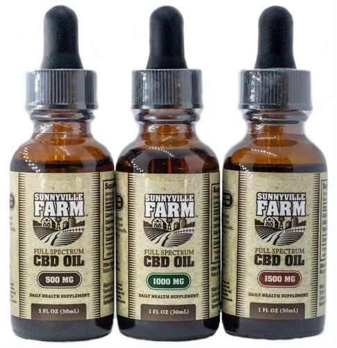 Sunnyville Farm full spectrum CBD oil, 500mg, 1000mg, 1500mg