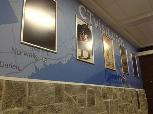 CT Rest Areas wall wrap and framed displays
