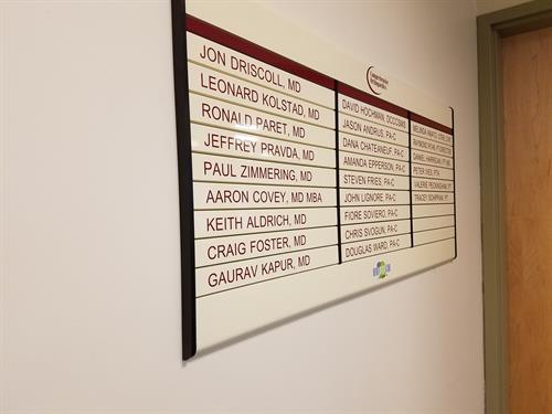 Comprehensive Orthopedics directory and wayfinding changeable signage