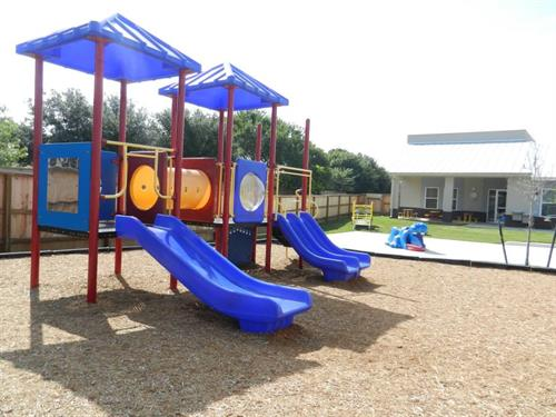 We have 3 separate outdoor playgrounds - each classroom has their own individual time!