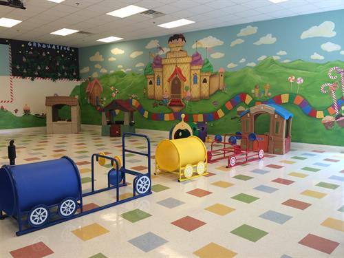 Our indoor playground which can be also turned into a media room for special days!