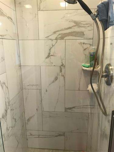 12 x 24 Porcelain installed in shower