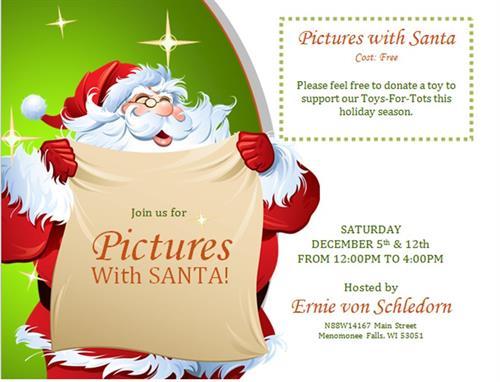 Ernie Von Schledorn >> Pictures with Santa at Ernie von Schledorn, Inc. - Dec 12, 2015 - Menomonee Falls Chamber of ...