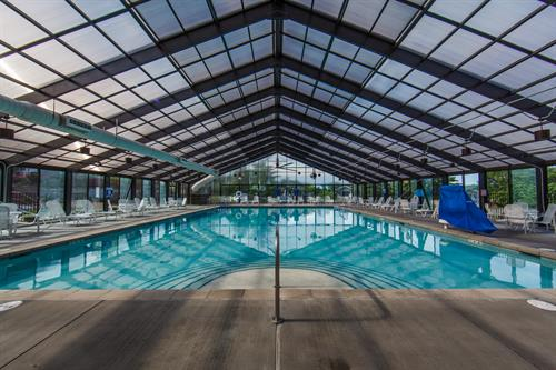 A year-round heated indoor pool keeps the fun going even in the winter
