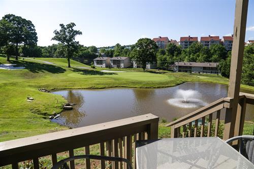 Outdoor patio overlooking golf course