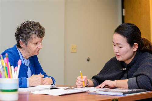 Student working with a Volunteer Tutor