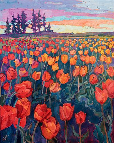 """Cascade of Tulips"" OIL ON CANVAS by Erin Hanson"
