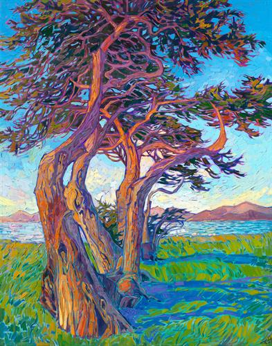 """""""Dancing Cypress"""" OIL ON CANVAS by Erin Hanson"""