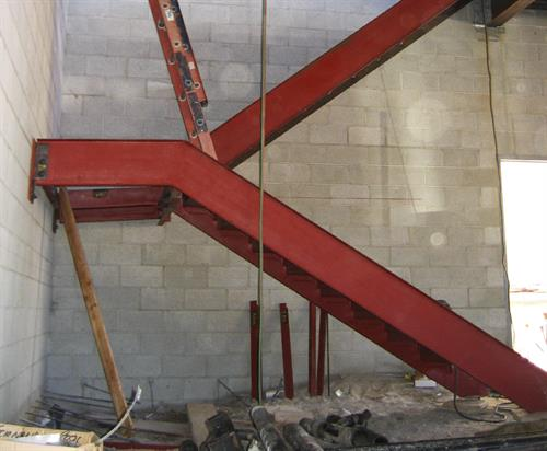 Interior steel stairway in process at san Fernando Regional Pool park