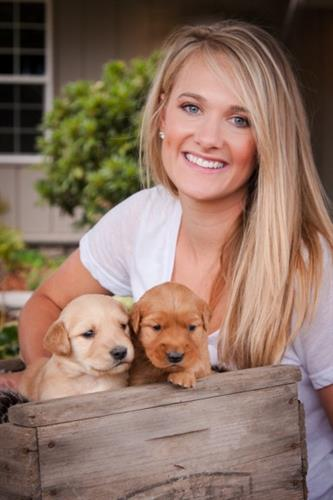 Jenice Lawson and Golden Retriever puppies, Amity