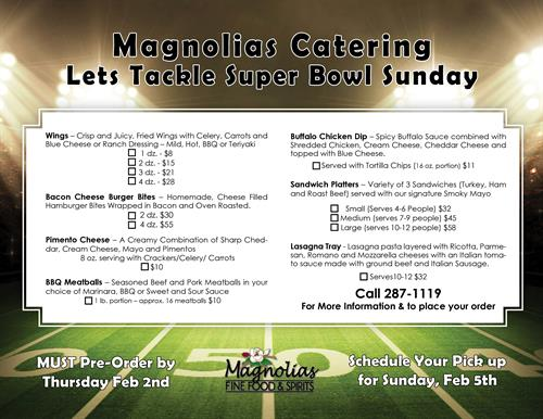 Super Bowl Catering -Magnolias
