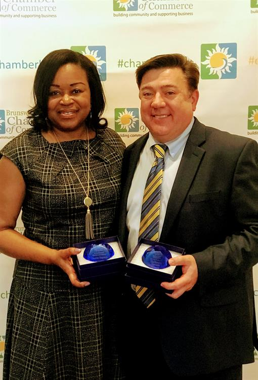 Novant Health Leaders Desiree Dunston and Shelbourn Stevens were honored to be recognized with the Established Businesswoman and DUDE awards at the 2018 Brunswick County Chamber of Commerce Women of Impact awards.