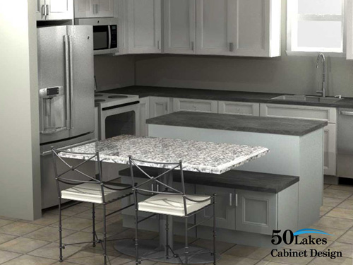 2020 rendering - kitchen island with table seating