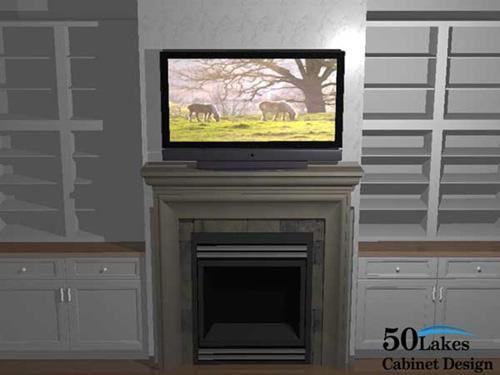 2020 Rendering - Fireplace/Entertainment Center/Bookshelves