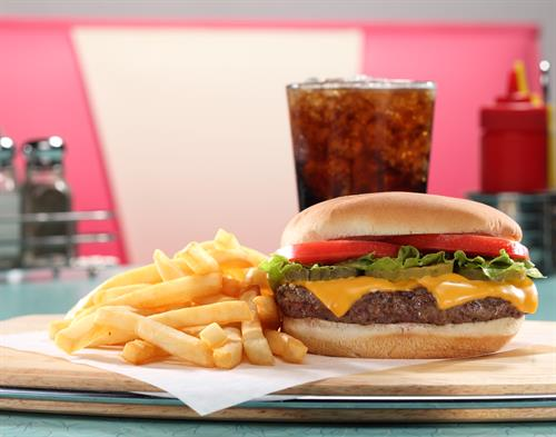 Our Fresh, Never Frozen All-American Andy's Cheeseburger