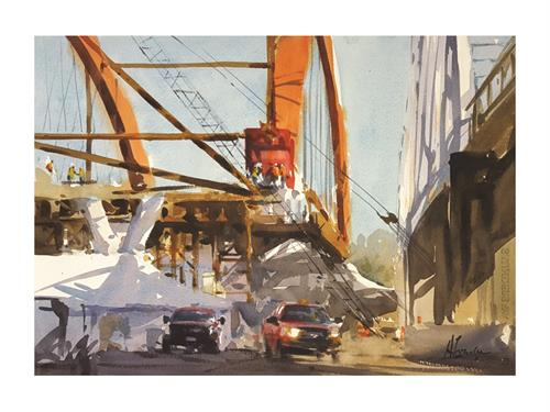 'Bridge Builders', original watercolor