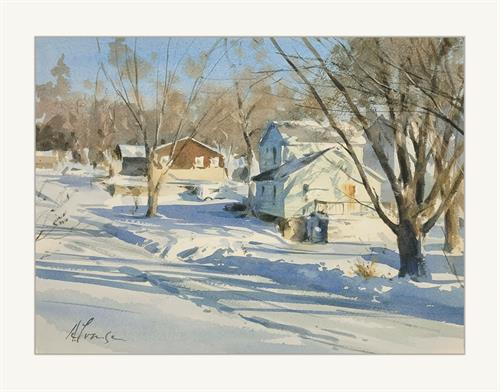 'Fresh Snow on Hastings', original watercolor