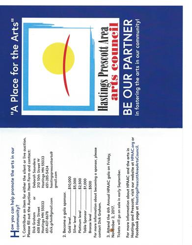 6th Annual HPAAC Gala Friday, November 3      6 pm