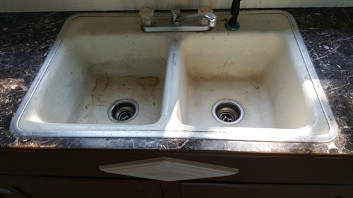 sinks can also be refinished from this old stained and really old dingy look.