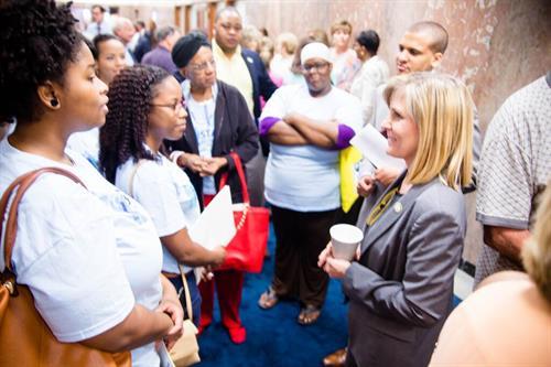 Parent Members talk to Representative Nancy Landry during Stnad's 2016 Lobby Day.