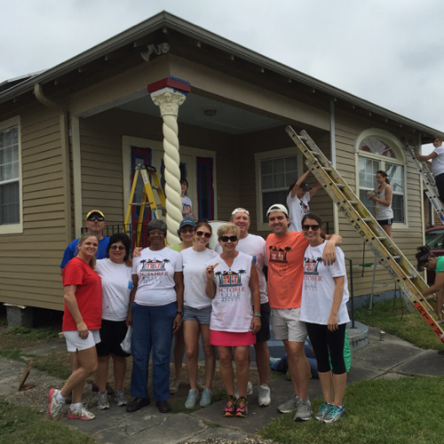 In 2015, employees of GEB spent two weekends fixing up the exterior of the Gentilly home of Mrs. Eleanor Sheppard. The GEB team repaired siding, painted the home's exterior and built safe steps. Before retiring, Sheppard taught business education at Abramson High School. Sheppard has lived in the house, which she inherited from her mother and father, for 25 years. The effort was through Rebuilding Together New Orleans, whose mission is to allow low-income families to live in safety, warmth and dignity.