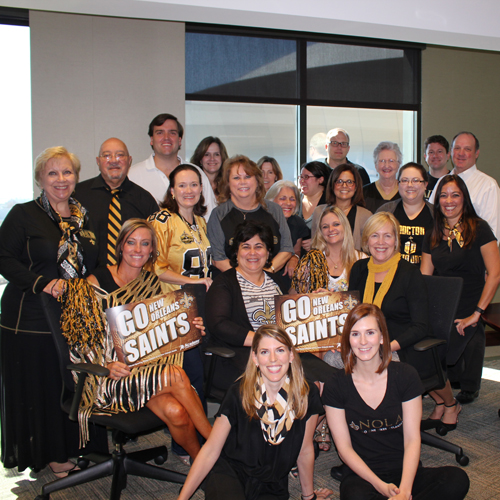 GEB is a big fan of the New Orleans Saints! Each year, GEB hosts a Tailgate Party for employees and clients at the GEB office, which is conveniently located directly across Poydras St. from the Superdome. Everyone sports their finest black and gold attire, as they mix and mingle, watch pre-game reports on TV, and enjoy delicious food and beverages. It is typically held on the day of a weekday home game.