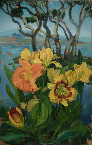 """Day Lilies and Grove of Trees"" by Benjamin Shamback"