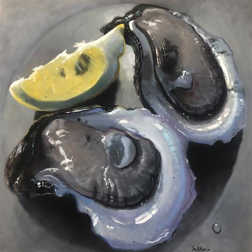 """Oyster in the Circle, In the Square"" oil on canvas by Billy Solitario"