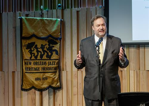 Stephen Perry speaking at the Jazz & Heritage Foundation