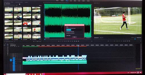 Editing a social media content video about soccer in Louisiana.