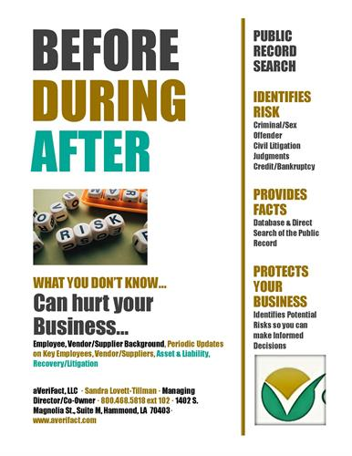 Before, During & After any business relationship decisions are made...we've got your back!