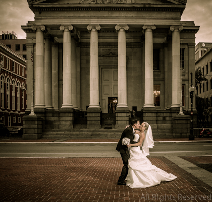 Wedding day portrait at Gallier Hall in New Orleans.