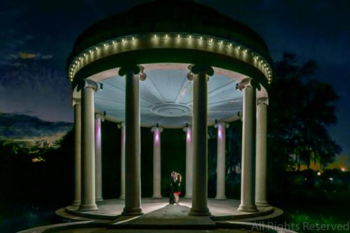 Engagement photo at Popp Bandstand in City Park in New Orleans.