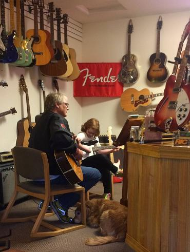 Guitar lessons at shop