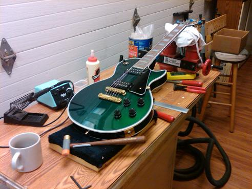Guitar in repair process