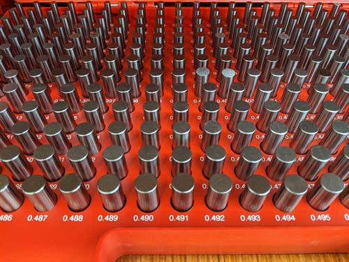 Precision ground gauge pins used to ensure accuracy of holes
