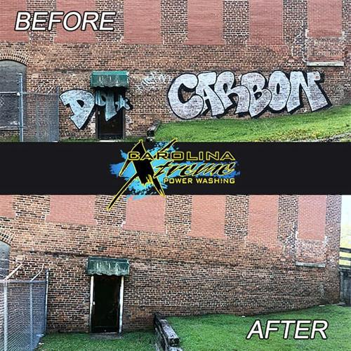 Graffiti Removal on historic building in Clayton, NC