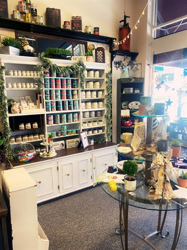 We carry Farm Fresh Candle Co. and Wicks for Wags candles. Both are made with soy, cotton wicks and high grade essential oils. Farm Fresh Candles are made in Fairview, Tenn, by a mother daughter duo and Wicks for Wags are made right in Raleigh and a portion of all sales go to dog rescues!!
