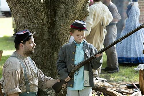 Visit Bentonville Battlefield where reenactments are done every 5 years.