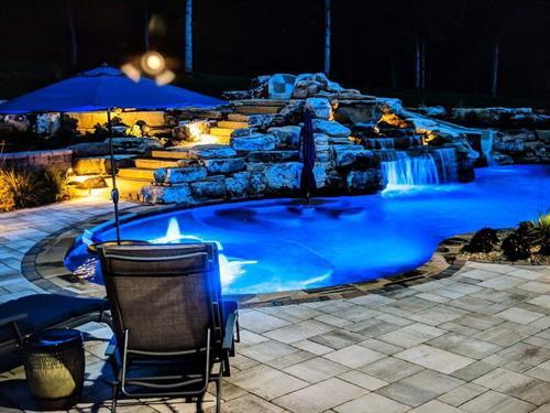 Milosi Pool Design | Build at night