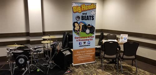"Our top selling program ""Big Heads & Beats"" brings a Live Caricatures & Volume Controlled Drumming DJ playing all the hits!"